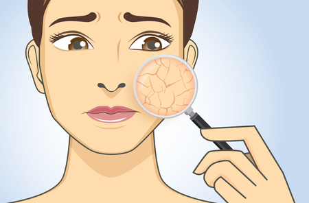 Illustration pour Zoom in facial with magnifier for looking dry skin problem of woman. - image libre de droit