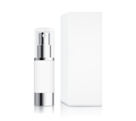 Illustration pour Cosmetic pump bottle small size and white box isolated on white for serum container mock up and cream and gel or other job. - image libre de droit