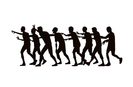 Illustration pour Silhouette zombie group walking on white background. - image libre de droit