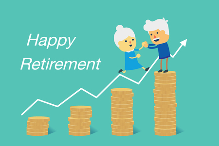 Ilustración de Elderly couple jump to big pile of coins for happy retirement together. Illustration about financial goal planning. - Imagen libre de derechos