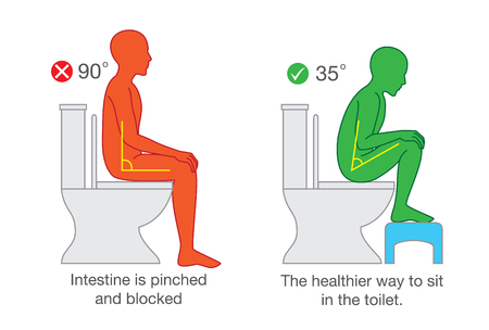 Illustration for Correct sitting get the proper degree angle of body on toilet seat for help with excretion. - Royalty Free Image