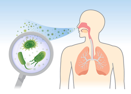 Ilustración de Looking Bacteria and Fungi into respiratory of human from breathe with Magnifying glass. Illustration about air pollution. - Imagen libre de derechos