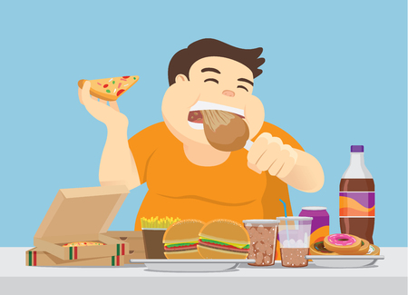 Ilustración de Fat man enjoy with a lot of fast food on the table. Illustration about overeating. - Imagen libre de derechos