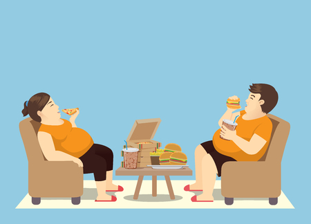 Illustrazione per Fat man overeating with many fast food on the table. Illustration about binge eating. - Immagini Royalty Free