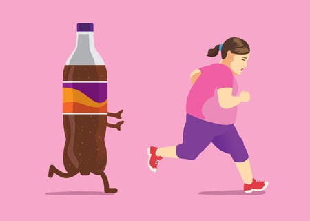 Ilustración de Fat woman run away from soft drink because she is on a diet. Concept illustration about lose weight. - Imagen libre de derechos