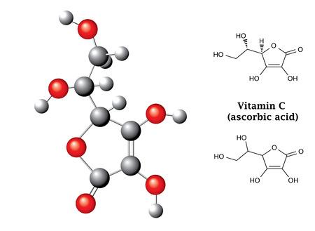 Illustration pour Model and  chemical formulas and  of ascorbic acid  vitamin C - image libre de droit
