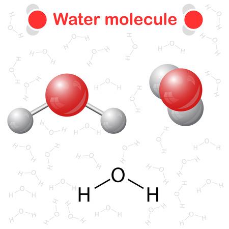 Illustration pour Water molecule: icon and chemical formula, H2O, 2d & 3d illustration, vector, eps 10 - image libre de droit