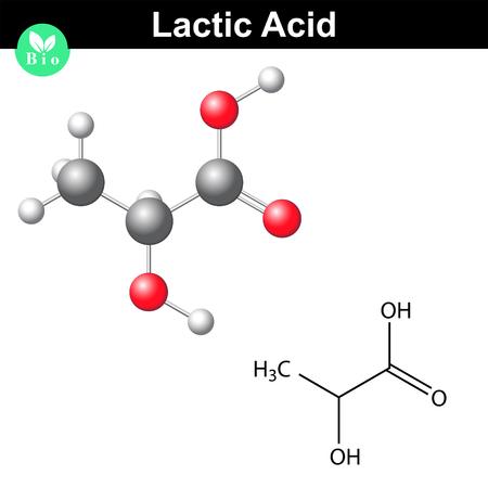 Illustration pour Lactic acid molecule, lactate, structural chemical formula and model, 2d and 3d vector, isolated on white background - image libre de droit