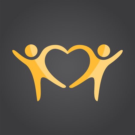 Illustration pour Two people form heart shape holding hands, 2d vector on dark background  - image libre de droit