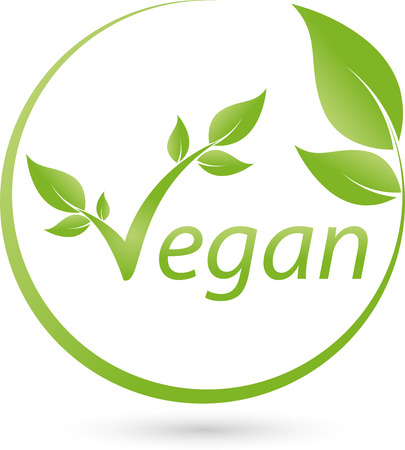 Illustrazione per Vegetarian symbol with scrolling, Vegan, Logo - Immagini Royalty Free