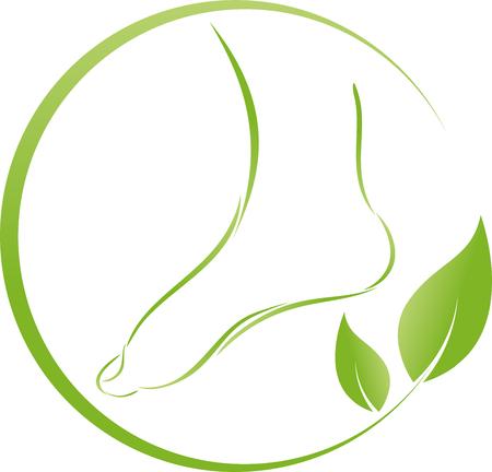 Ilustración de Foot and leaves, plant, foot care - Imagen libre de derechos