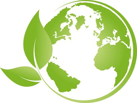 Illustration pour Earth, globe, world globe, recycling, leaves - image libre de droit
