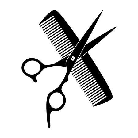 Illustration pour Scissors, comb, hairdresser - image libre de droit