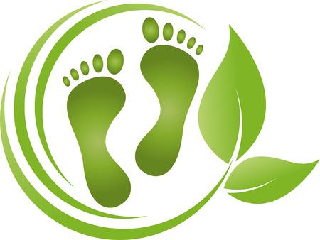 Ilustración de Feet, leaves, foot care, podiatry - Imagen libre de derechos