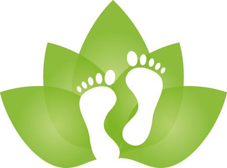 Ilustración de Feet and leaves, foot care, massage - Imagen libre de derechos