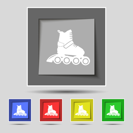 roller skate icon sign on original five colored buttons. Vector illustration