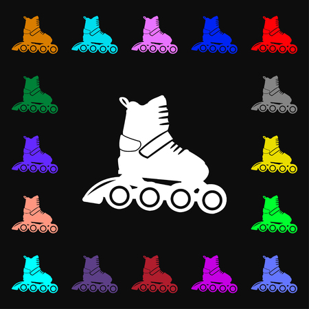 roller skate icon sign. Lots of colorful symbols for your design. Vector illustration