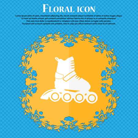 roller skate icon. Floral flat design on a blue abstract background with place for your text. Vector illustration