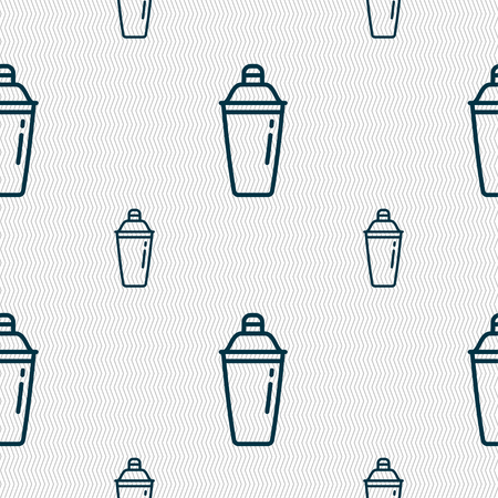 cocktail shaker icon sign. Seamless pattern with geometric texture. Vector illustration