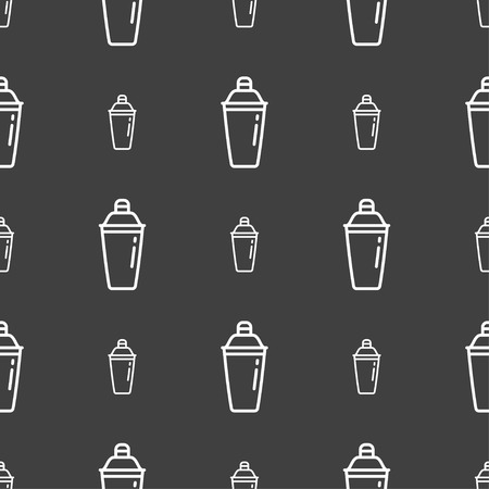 cocktail shaker icon sign. Seamless pattern on a gray background. Vector illustration