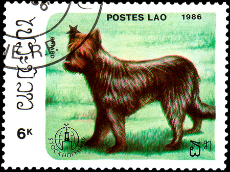 Foto de LAOS - CIRCA 1986: postage stamp, printed in Laos, shows briard dog - Imagen libre de derechos