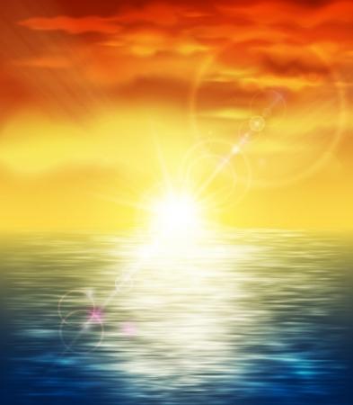 Illustration pour Natural background with sunset at sea - image libre de droit