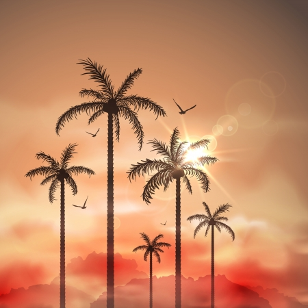Photo pour Tropical landscape with palm trees - image libre de droit