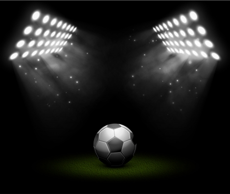 Illustration pour Soccer ball in light of searchlights - image libre de droit