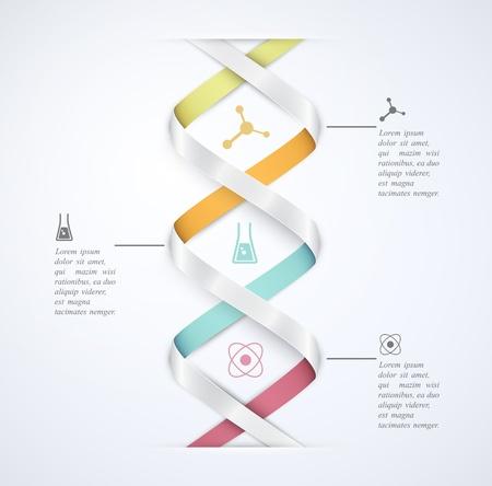 Illustration pour DNA banner, science infographics - image libre de droit