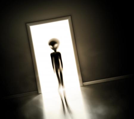 Illustration pour Alien at door - image libre de droit
