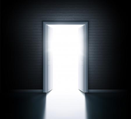 Illustration pour Wall with open door - image libre de droit