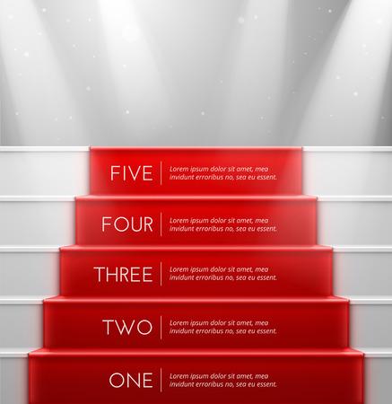 Illustration pour Five steps, success - image libre de droit