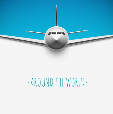 Illustration pour Background with airplane, around the world      - image libre de droit