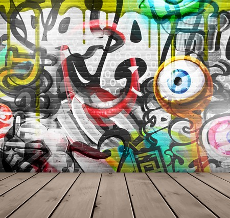 Illustration pour Graffiti on wall   - image libre de droit