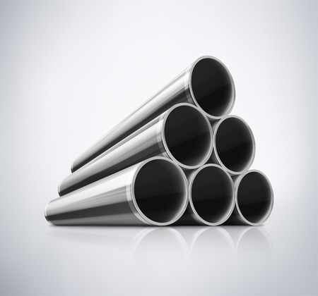 Illustration pour Stack of metal pipes, eps 10 - image libre de droit