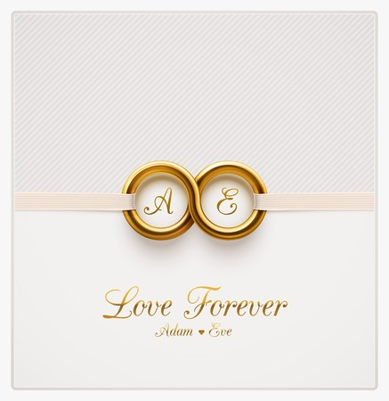 Illustration for Love forever, wedding invitation - Royalty Free Image
