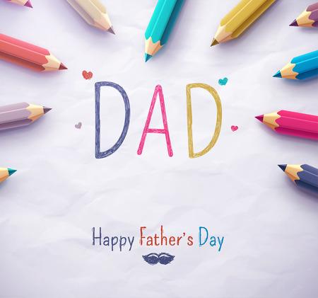 Illustration pour Poster for Happy Fathers Day with color pencils, eps 10 - image libre de droit