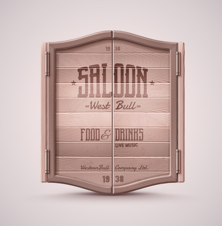 Illustration pour Old western swinging saloon door, eps 10 - image libre de droit