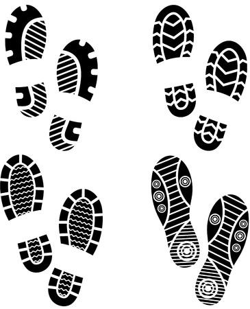 Ilustración de Set of four pairs of shoes print. eps10 - Imagen libre de derechos