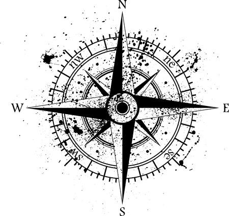 Illustration pour Black wind rose isolated on black.  - image libre de droit
