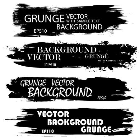 Illustration for Set of black grunge ink splashes with text. eps10 - Royalty Free Image