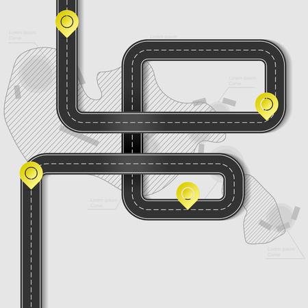 Illustration pour Black road with checkpoints - image libre de droit