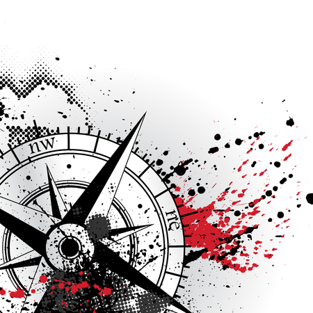 Ilustración de Black wind rose silhouette with different grunge blots and splashes black and red colors. With halftones and blood blobs isolated on white background - Imagen libre de derechos