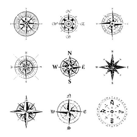 Ilustración de Set of nine black grunge windrose silhouettes isolated on white background - Imagen libre de derechos