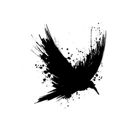 Illustrazione per Black grunge brush raven silhouette isolated on white background - Immagini Royalty Free