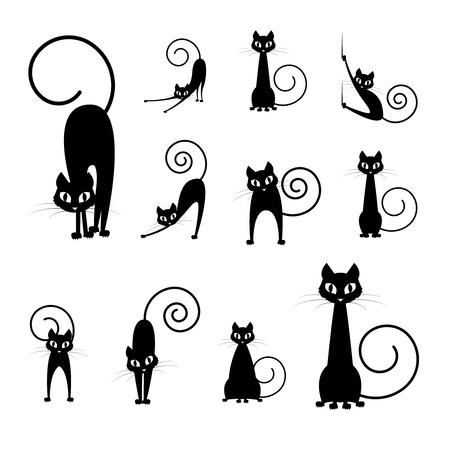 Illustration for black cat silhouette collections, cartoon cat black and white, Halloween - Royalty Free Image