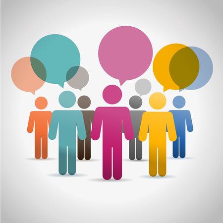Ilustración de People communication vector silouettes set online chat - Imagen libre de derechos