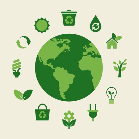 Ilustración de Eco earth and green icons, environmentally healthy foods - Imagen libre de derechos