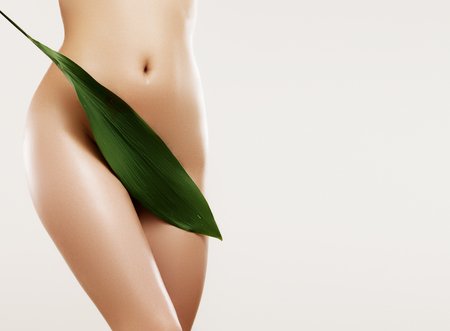 Photo pour Body care and skin care. Depilation concept. Waxing for beautiful woman. Brazilian laser hair removal bikini line and sexy body shapes. Sexy woman in spa - image libre de droit