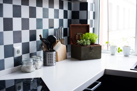 Photo pour Kitchen utensils, decor and kitchenware in the modern kitchen interior close-up - image libre de droit